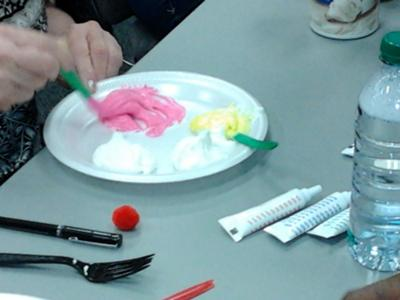 More mixing for the play therapy feeling cookie activity.