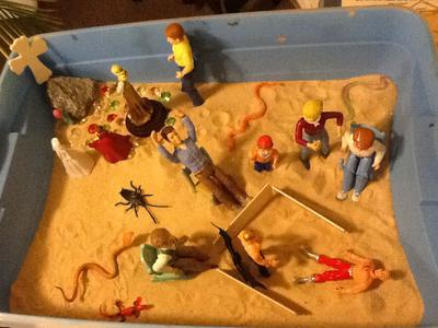 Day 3 of extended sand tray therapy tray.