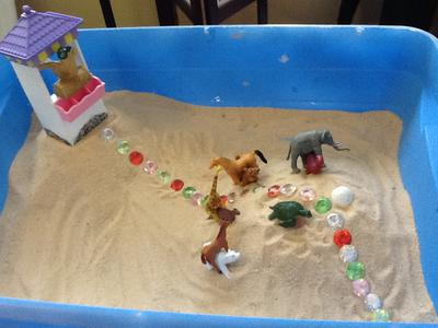 extended sand tray for sand tray therapy class day 5