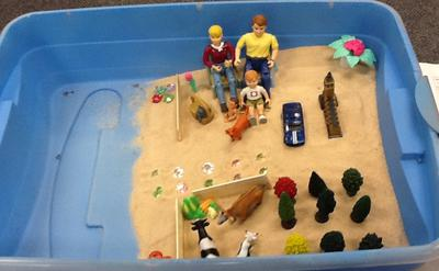 Example House, Tree, Person in the Sand Tray for Sand Tray Therapy Class