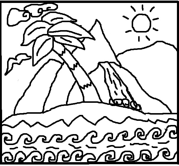 Art Therapy Printable Coloring Book Page Activity Paradise Island Below
