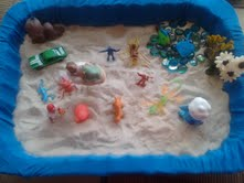 My very first sand tray for my sand tray therapy class.