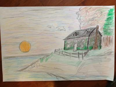School Counselor / Play Therapy Art: The House on the hill