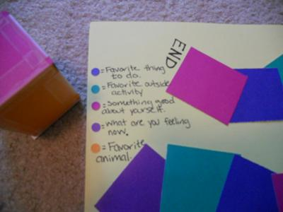 What each color represents: Play Therapy Game - Favorite Game