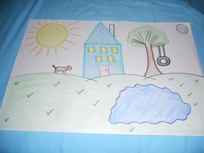 My house: Play Therapy-House, Tree, Sun, Moon, Animal, Water Art Counseling Drawing