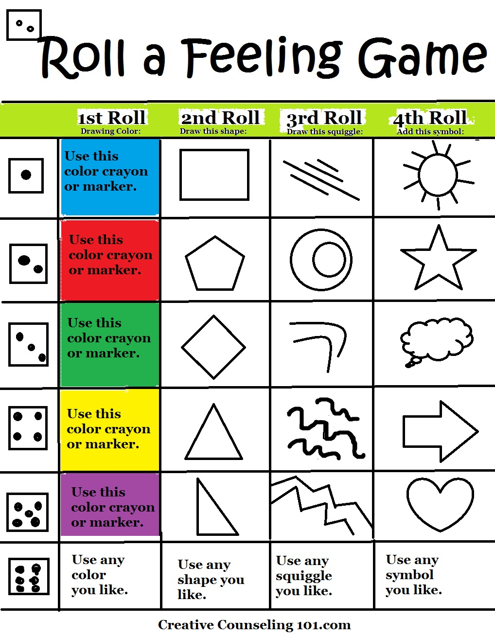 worksheet Art Therapy Worksheets art therapy roll a feelings game feeling board printable below