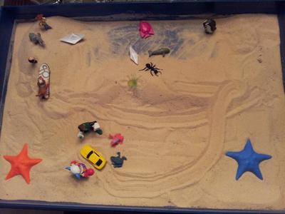 sand tray: kinetic drawing for sandtray therapy class- j.
