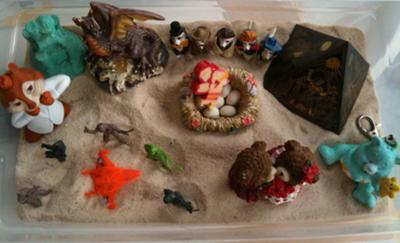 My home sand tray for sand tray therapy