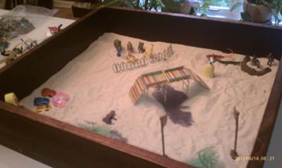 Sand Tray Therapy - Building My Bridge #1  Summer 2012