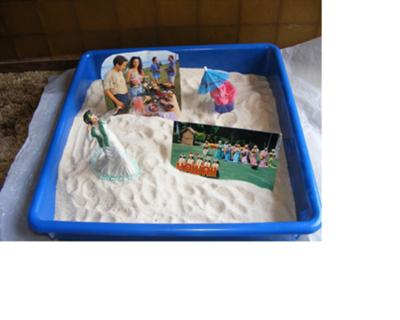 Sand tray Therapy Class, Multicultural Midterm with Sand Tray Miniatures, Student #2, Martha
