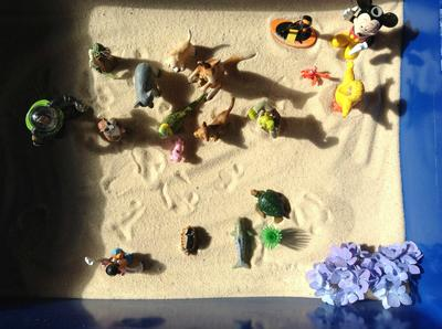 Sand Tray Therapy Class: My Family, an almost first sand tray with translation, Student #1