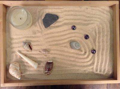 Sand Tray Therapy Class: Zen Garden Student #1, 5/30