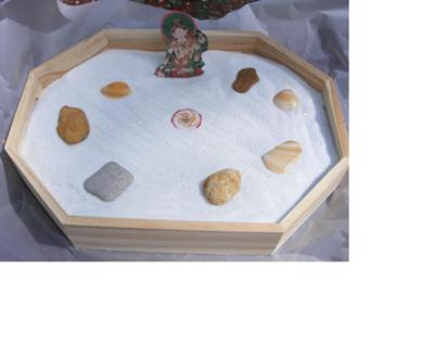 See an example of a graduate student's sand tray zen garden warm up.