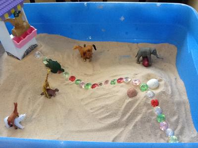 Day 4 of extended sand tray therapy tray.