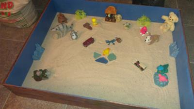 First Sand Tray from a Sand Tray Therapy Student in class.