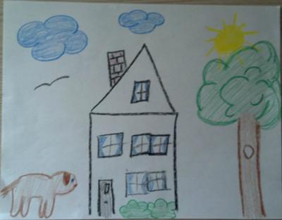 School Counselor / Play Therapy: House/Tree/Sun Drawing & Family Portrait example 1