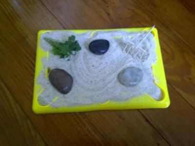 Sand tray therapy warm up:  zen garden
