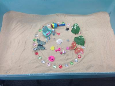 Sand Tray / Sand Play World mandala activity for group