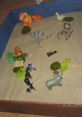 Sandtray with bridge, #2: How to make a sandtray therapy bridge tray.